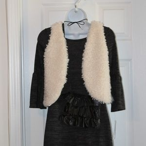 Girls 4 pc Dress & Vest w/Accessories Set